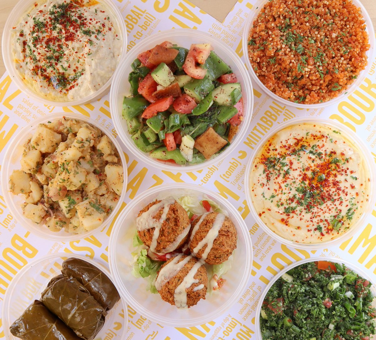 Order your plate and don't forget the SIDES!😋⠀ Our SIDES are made fresh daily and salads are tossed to order! ⠀ Tabouleh, falafel, stuffed grape leaves, hummus, potato salad, fattoush, quinoa salad, and eggplant dip. #eatbocboc #eatgoodfood #sides⠀ https://t.co/tAI5GKorxW