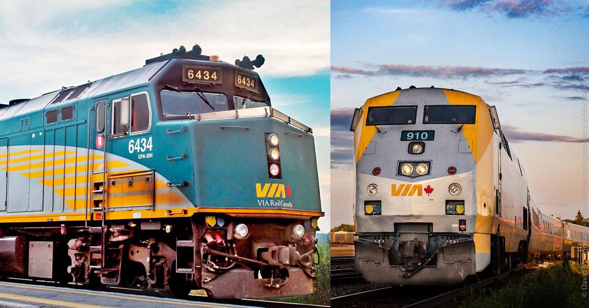 Deux looks différents, même tâche importante. Sur la gauche se trouve une de nos locomotives F40, et sur la droite, une P42. Elles produisent une puissance combinée de plus de 7 000 chevaux-vapeur! Laquelle trouvez-vous plus cool?😎  📷davidmccormackphotography/viarailstream (IG) https://t.co/YQdby6TnVP