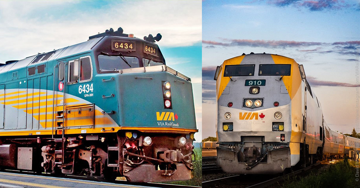Two different looks, same important job. On the left is one of our F40 locomotives, and on the right, a P42. They produce a combined 7,000+ horsepower! Which one looks cooler? 😎 . 📷by davidmccormackphotography / viarailstream (IG) . . #lovetheway #viarail #trains #explore https://t.co/VSM1JzR5Bh