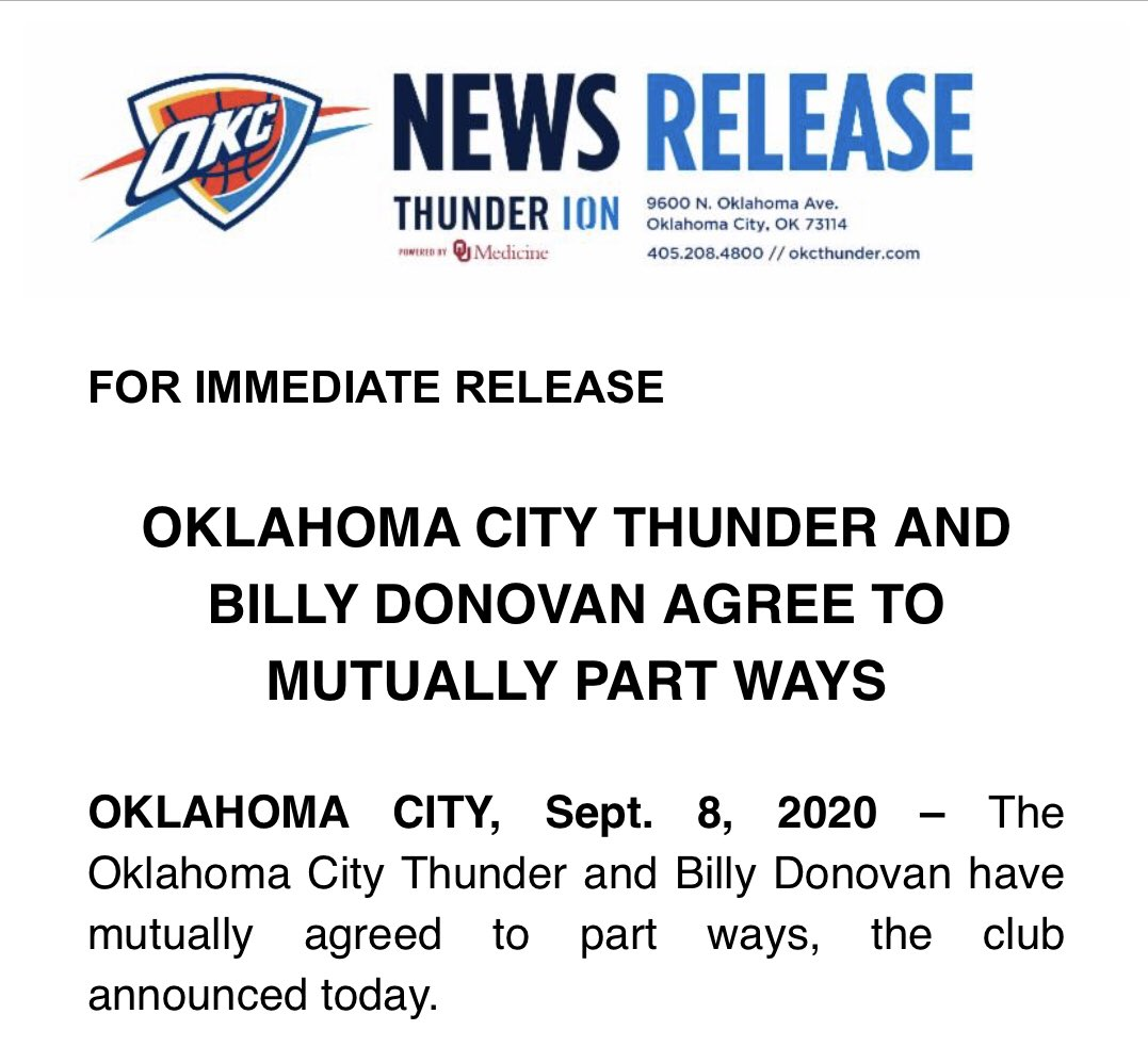 The Thunder make it official and announce they have parted ways with Billy Donovan ...