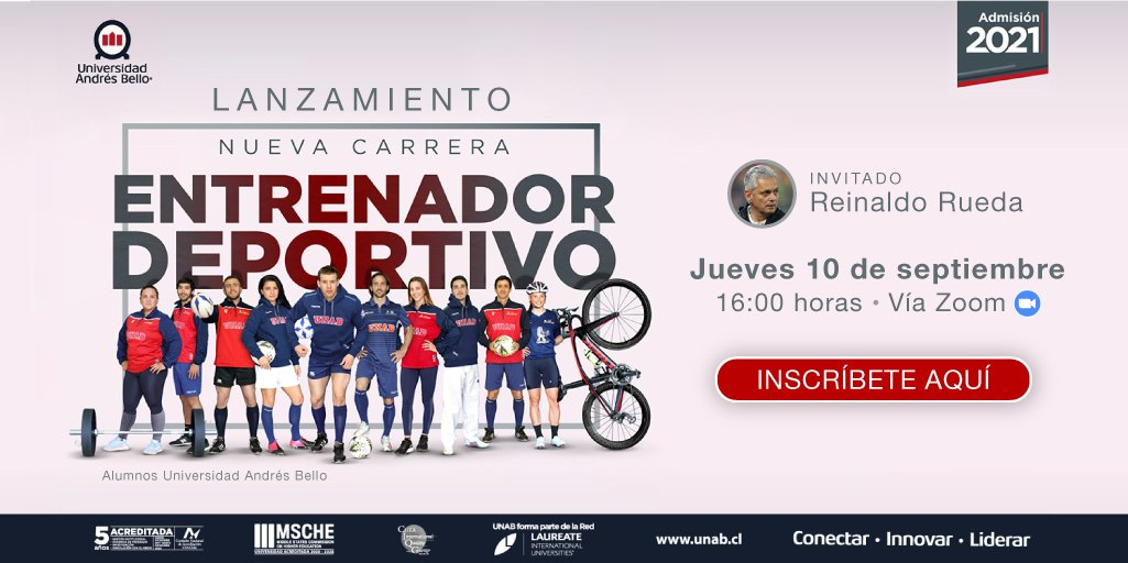 Reinaldo Rueda, actual DT de la selección chilena de futbol, expondrá en el marco del lanzamiento de la nueva #carrera de la #UNAB, Entrenador Deportivo 🏃♀️🏃. Inscríbete y participa de esta interesante charla 😀👉: https://t.co/MGTdKtWpgo #ExploraUNAB #Admisión2021 https://t.co/Cgs8w1DQ1C