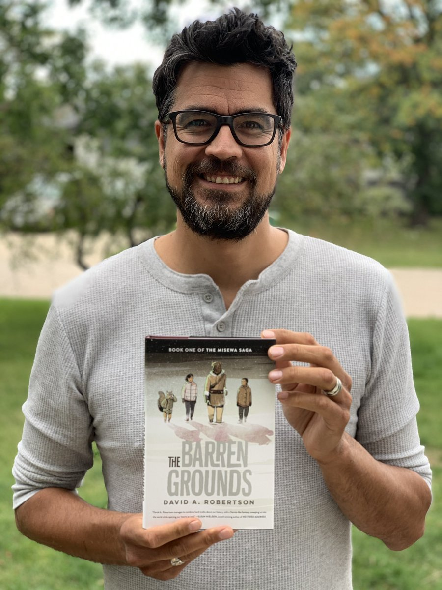 """David A. Robertson on Twitter: """"Happy 📖 🎂 to The Barren Grounds!! Had to  take a picture with the book, which I'm so proud of. Thanks to @TundraBooks  and @WCA_LitAgency and everybody"""