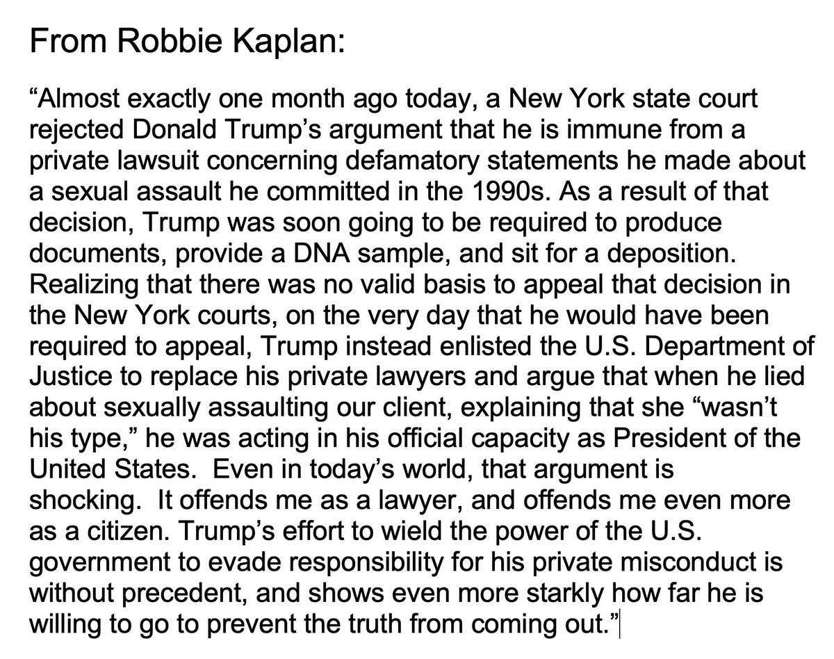 Here is Robbie Kaplan's reply. She is the greatest attorney in America! https://t.co/tgLBPK5vf2