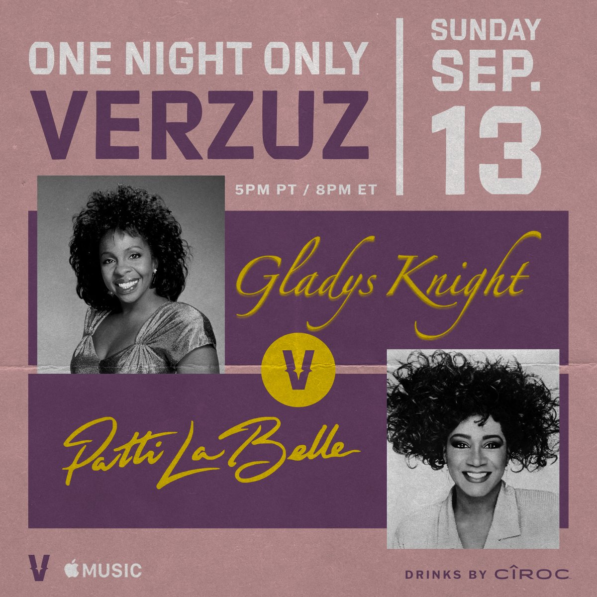 The Master Class we've ALL been waiting for!  @MsGladysKnight vs. @MsPattiPatti 🔥 This Sunday at 5PM PT/8PM ET.  Y'all gotta get dressed up in ya Sunday's best for this classic affair.  Watch it on our IG or in HD on @AppleMusic. Drinks by @Ciroc.
