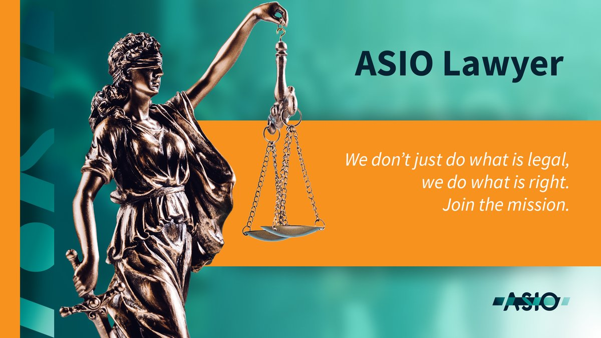In #ASIO, we don't just do what is legal, we do what is right. Bring your leadership experience in #law to a team providing ethical and impartial #legal advice in a national security setting. 📙 asio.gov.au/careers #YourSecurityService #JoinTheMission