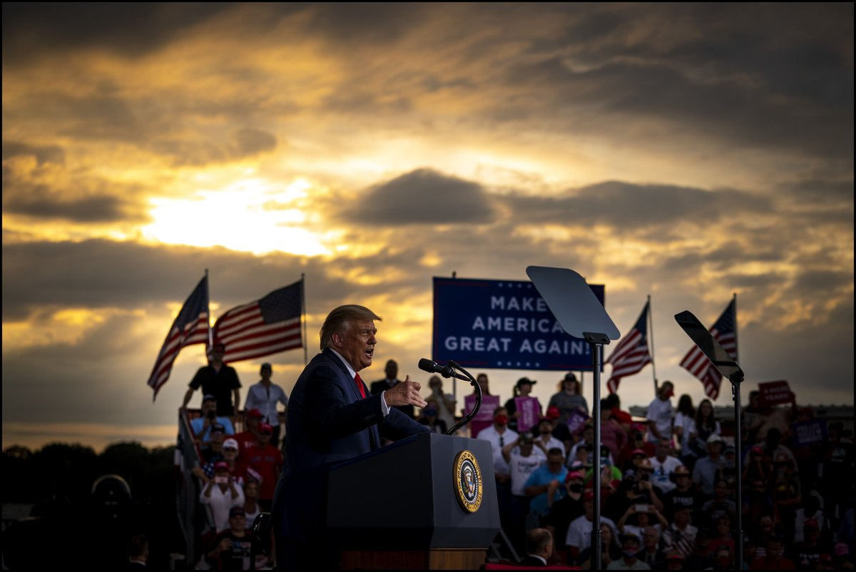.@realDonaldTrump addresses supporters during a campaign rally at the Smith Reynolds Airport in Winston-Salem, NC. https://t.co/vBGu1rVY60