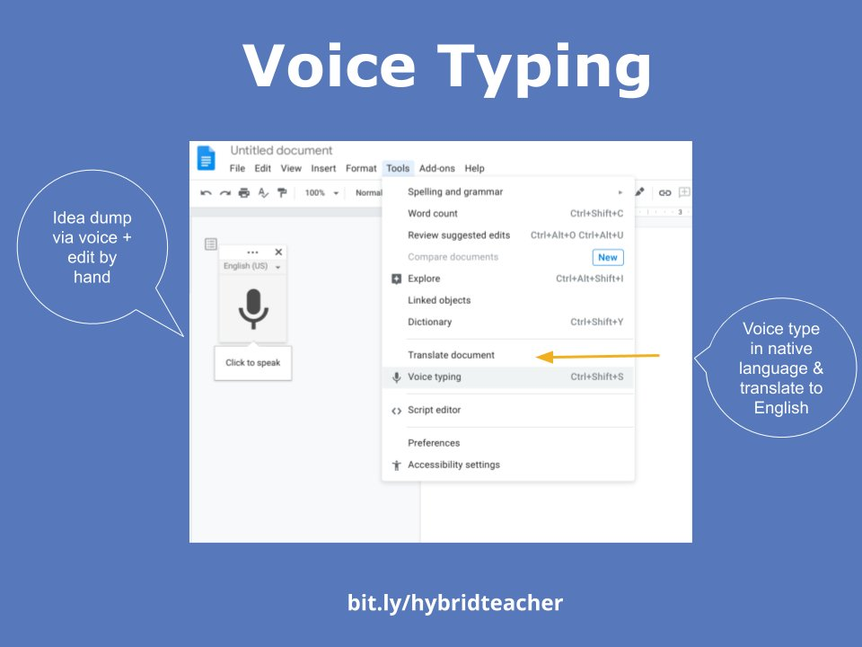 In need of a silver lining to remote learning? Ss can more freely use VOICE TYPING from home! Voice typing has been incredibly beneficial for my Ss who are learning English, dyslexic, and struggle with writing all around. #teachinginapandemic https://t.co/ZzArCi23tA