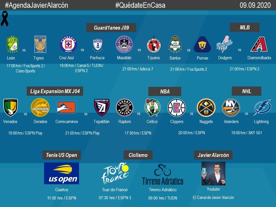 #AgendaJavierAlarcon | #LigaBBVAMX #LigaBBVAExpansionMX #MLB #NBAPlayoffs #NHL #USOpen #TDF2020 #TirrenoAdriatico https://t.co/WkkLKCS0vh