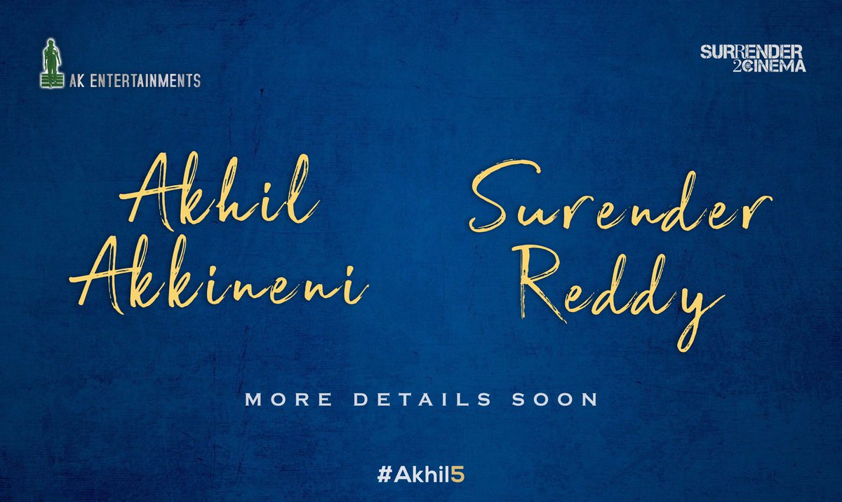 It's time ! Announcing my next with @DirSurender and @AnilSunkara1. This one is extremely special to me 🙏🏻.  Fully pumped to start soon. Energy all the way 💪🏻 @AKentsOfficial @S2C_Offl #Akhil5