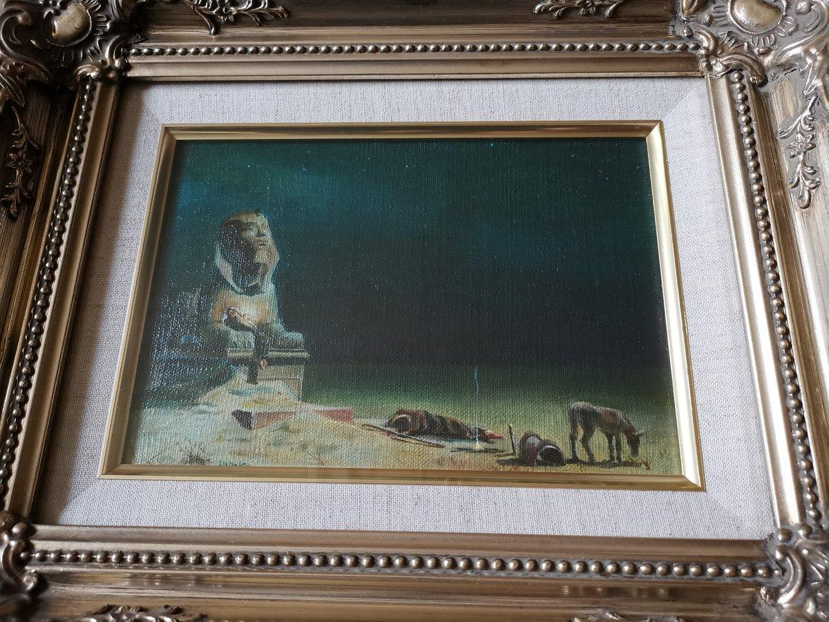 自宅で掃除に明け暮れている毎日です😅 18ー19歳に描いた複写の油絵を発見、ミニチュアサイズでハガキ2枚程の大きさ。作者は忘れてしまいましたが、エジプトへの逃避を描いた作品。