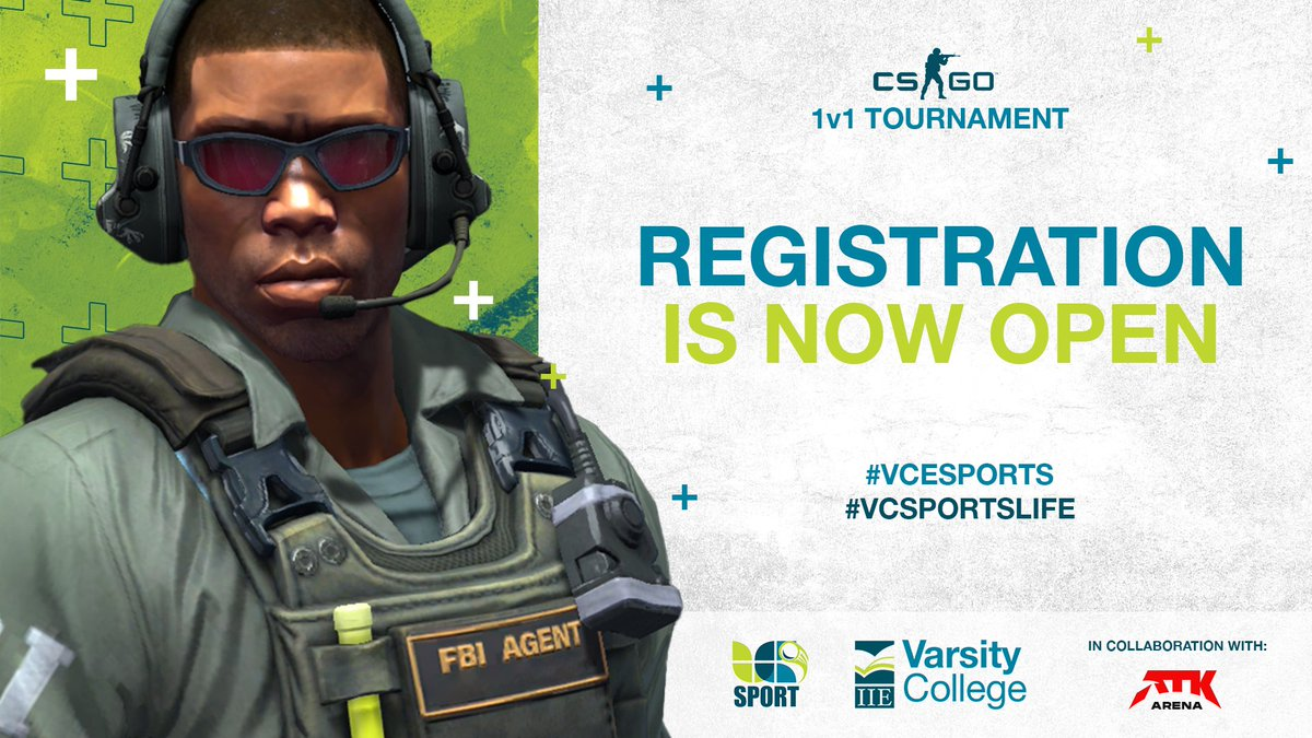 Registrations are now open for the inaugural IIE's Varsity College Sports 1v1 CS:GO Tournament!   Take your shot at winning your share of some great prizes! Register here: https://t.co/4DFkqpGcmG   Limited spots are available!  In collaboration with @ATKArena.   #VCEsports https://t.co/gGf34pXyPz