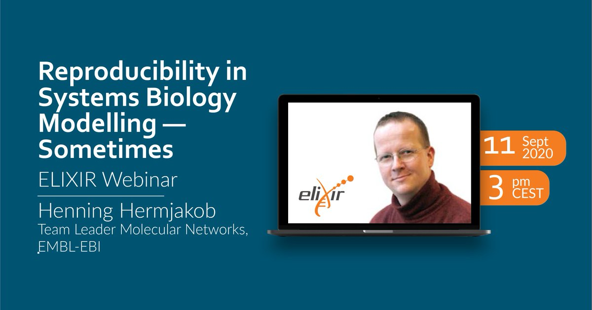 Do you want to join ELIXIR and EMBl-EBI in a research discussion on reproducibility in #SystemsBiology? ➡️ https://t.co/0oGGndxxqI  Joins us #ThisFriday on one of our monthly ELIXIR Webinars! 🗓 Friday 11 September 🕒 3 pm CEST https://t.co/6xoB82lj1c