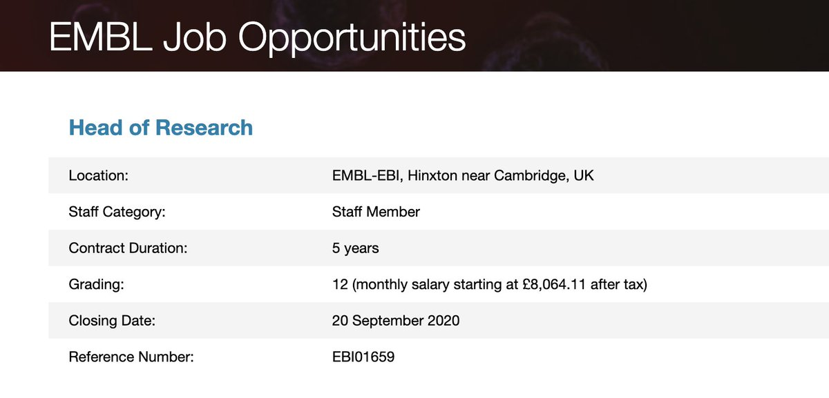 You could help set the vision, strategy and scientific direction of EMBL-EBI. We're #hiring a Head of Research to represent us and our mission to the global scientific community and lead the direction of EMBL-EBI #research. #scijobs #bioinformaticsjobs https://t.co/PoFhraXwdc https://t.co/i6dJQsGs83