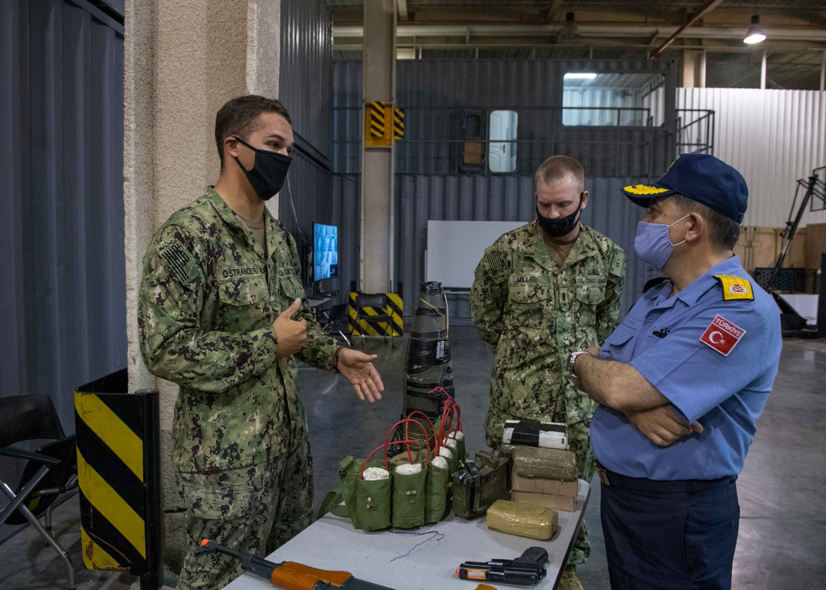 Rear Admiral Inanir, Commander of CTF 151 visited the #USCoastguard in #Bahrain to study their vessel board and search training facility. Called Ship in a Box, it develops counter-piracy skills, helping improve #maritimesecurity in the region. Read more bit.ly/3ifAXFZ