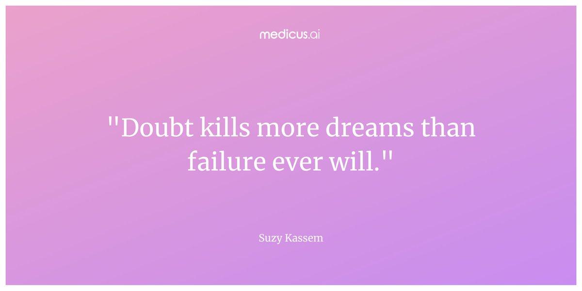 """Doubt kills more dreams than failure ever will."" – Suzy Kassem  #wednesdaywisdom #wednesdaythoughts #wednesdaywords #quote #quoteoftheday https://t.co/vGUoYlmgcA"