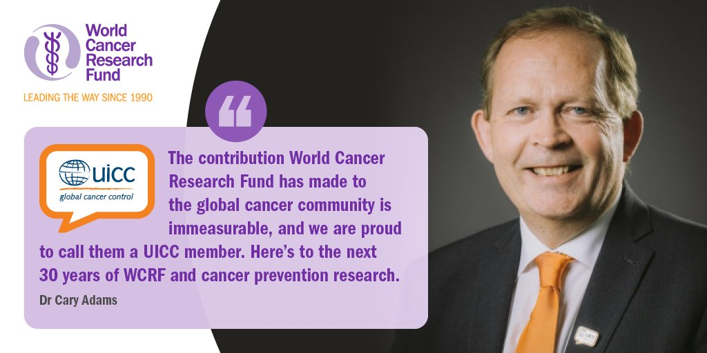 """🥳 Some of the fantastic organisations we work with have sent @WCRF_UK happy 30th birthday messages! One such organisations is @uicc, who unite the global cancer community. Their CEO, @DrCaryAdams, says: """"Here's to the next 30 years of WCRF...""""  #30YearsOfWCRF https://t.co/68HIlp81h8"""