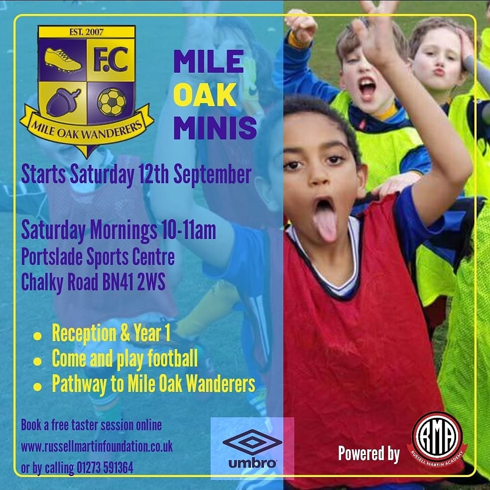 The Minis are back 🙌   Saturday 12th September is start of our new Minis in partnership with the Mile Oak Wanderers.   All sessions are fun based and delivered by qualified coaches. To find out more or book your childs FREE taster session contact info@rmfoundation.co.uk https://t.co/IC4DPLid2B