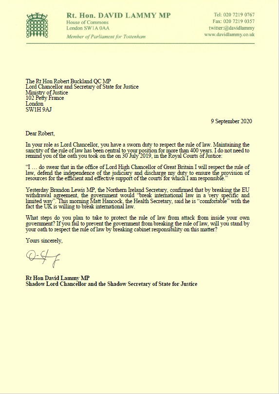 The rule of law is under attack.   @RobertBuckland swore an oath to stand up for it when he became Lord Chancellor.  This morning I have written to him asking him to do his job. https://t.co/ZEfHUP8oyh