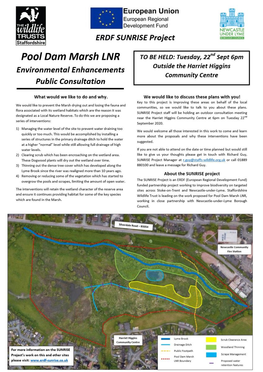 We're holding an Environmental Enhancements Public Consultation on Tuesday 22nd September at 6pm on our #staffsSUNRISE Pool Dam Marsh LNR project. @WildStoke  Interested in attending?   See the attached poster for more info. #wilderstaffordshire https://t.co/ryYAes3SJL
