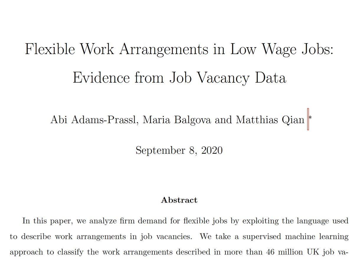 Why do employers offer flexible jobs? To help workers find work-life balance or to shift cost & risk? @BalgovaMaria @QianMatthias & I take a machine learning approach to analyze the text of 46million UK job ads to provide some answers. 1/n