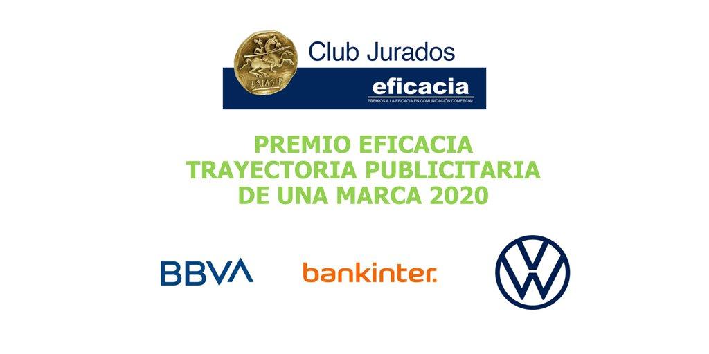 🏅@BBVA_espana @bankinter y @VW_es optan al Premio Eficacia a la Trayectoria Publicitaria de una Marca, otorgado por el #ClubDeJurados.  👉🔗https://t.co/WHiILGAbQ8  #eficacia2020 https://t.co/Pt7RHYUiod