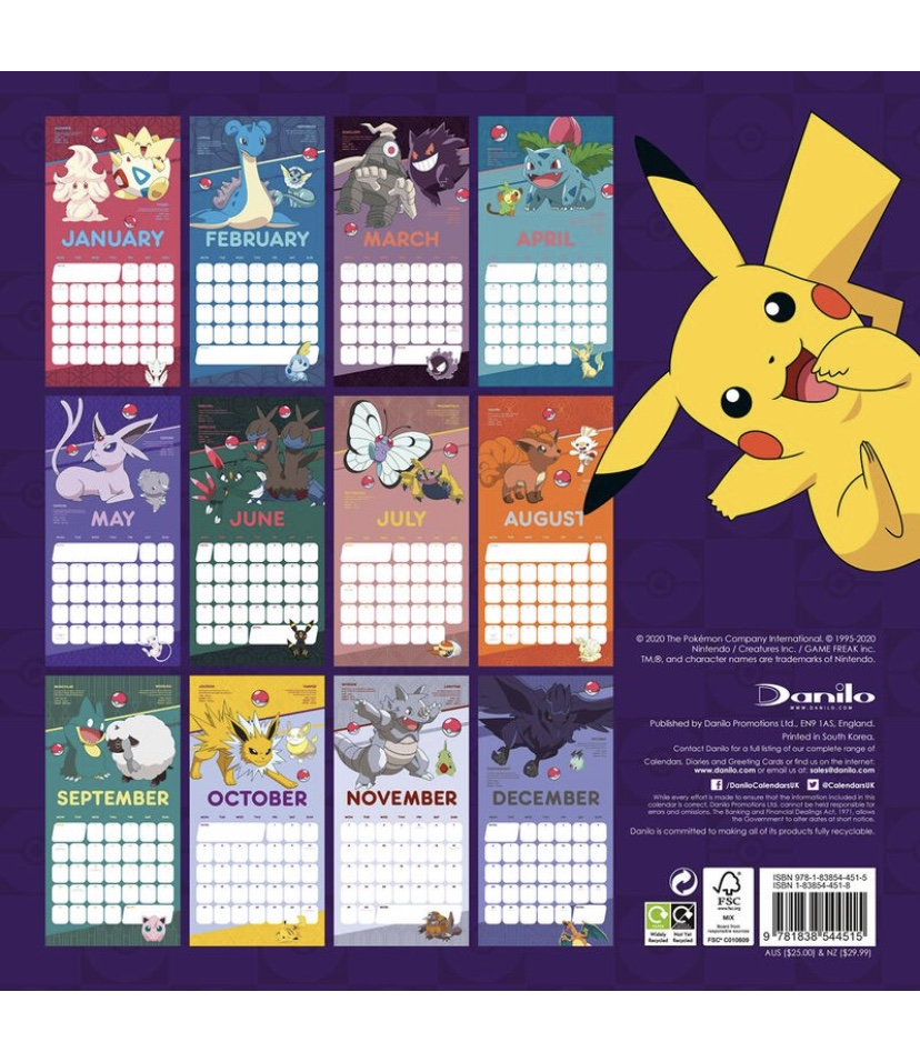 2021 ポケモン カレンダー