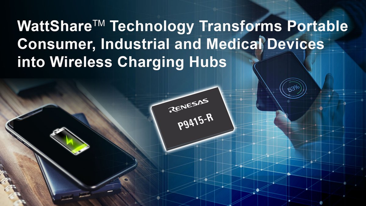 We have expanded our wireless power portfolio! Featuring WattShare TRx mode, #Renesas newest 15W wireless power receiver enables quick and convenient mobile device charging on the go. Learn more – https://t.co/hB1n0ddmQM  #WirelessCharging https://t.co/jjRf7bXiSO
