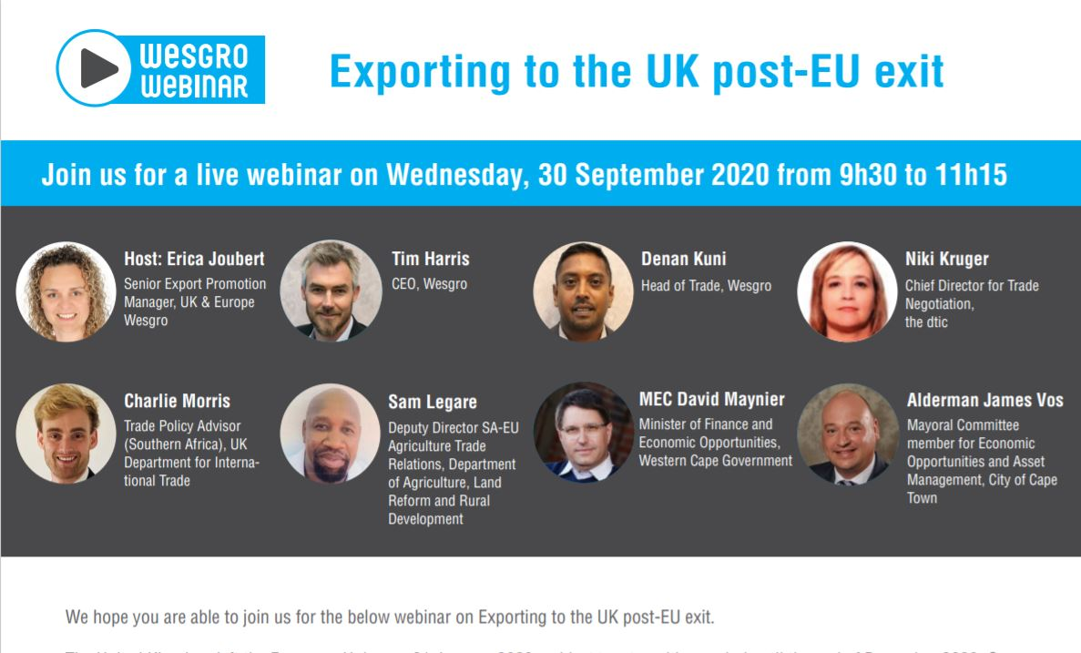 #WesgroWebinar: Join Wesgro alongside industry experts as they look into exporting to the UK post-EU exit - providing an overview of the SACUM-UK EPA, & export opportunities under the new EPA.  Date: 30 September 2020 Time: 09h30  Register Now ➡️: https://t.co/IZSM3Vil7R https://t.co/CuO7Pf2jyd