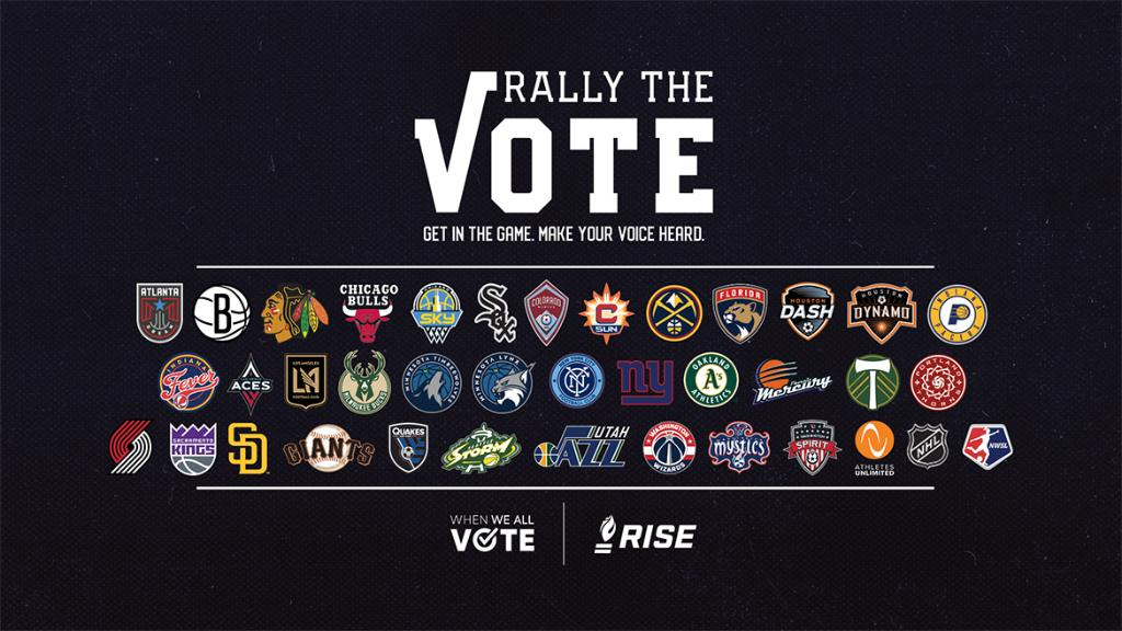 Excited to welcome 18 new members to the Rally the Vote coalition! Partnership with @RISEtoWIN & @WhenWeAllVote now has over 35 pro sports teams.  Learn more » https://t.co/G3YJk8uyhN https://t.co/0XydSnoeg7
