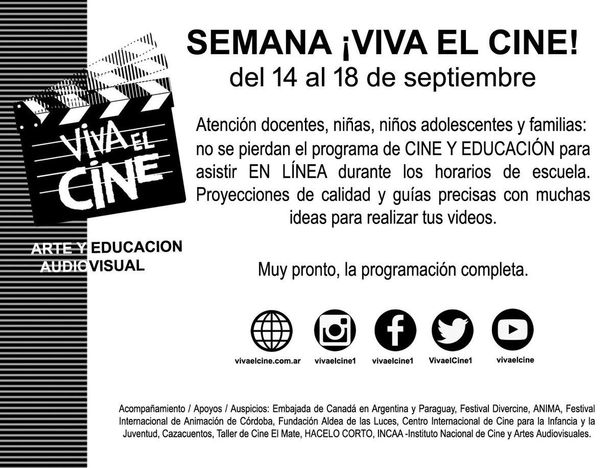 Ne manquez pas @VivaelCine1! Du 14 au 18 septembre, de nombreuses idées et activités en ligne pour enseignants et étudiants avec beaucoup de matériel du Canada! Pour en savoir plus : https://t.co/jcqx482EQd https://t.co/f5yjqddq5K
