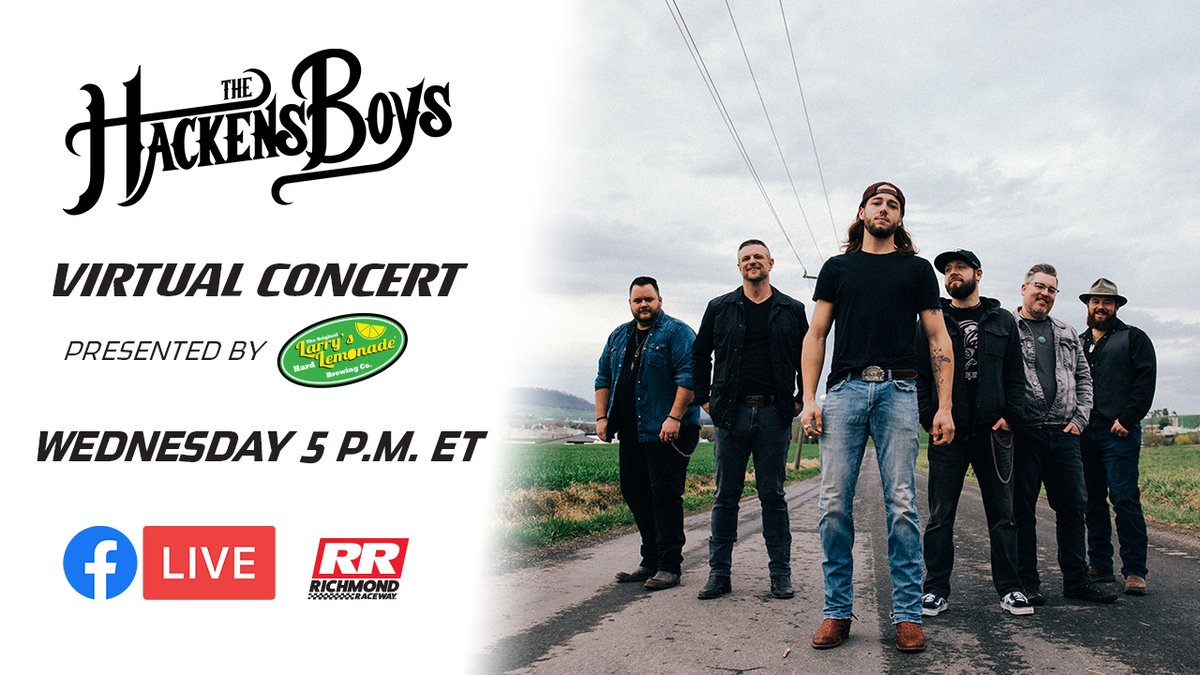 Cant wait to catch the @hackensboys virtual concert presented by @Larrys_Lemonade later today! Tune in to our Facebook page at 5 p.m. 🤗