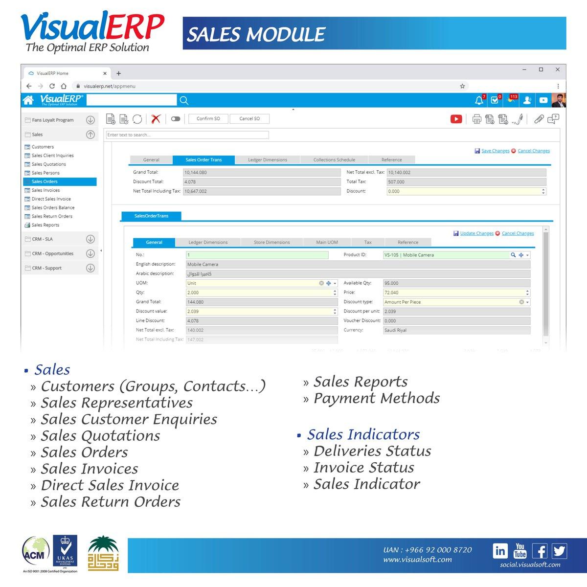#VisualERP #Features  #Sales #Module #ERP #KSA