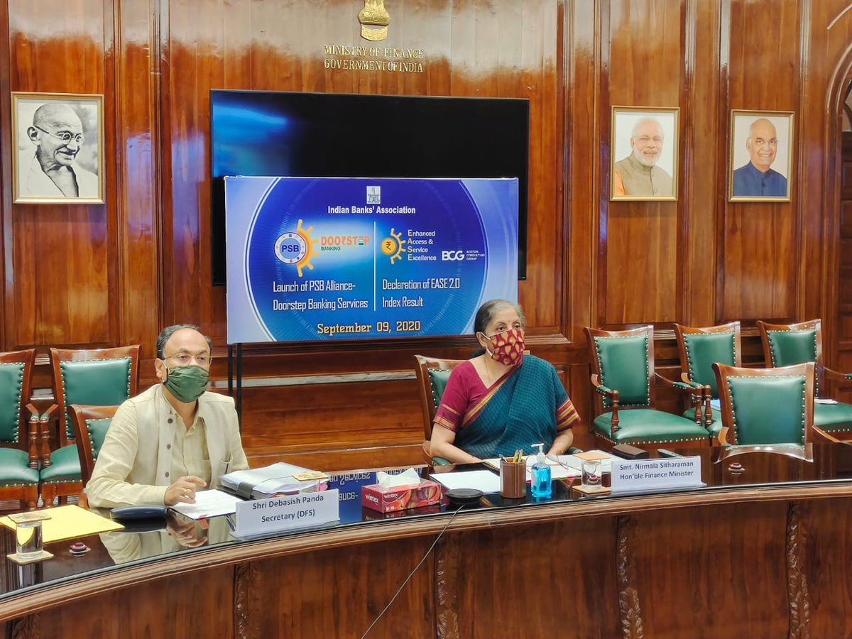 Smt @nsitharaman launches PSB Alliance Doorstep Banking Services and declares EASE 2.0 Index Results.