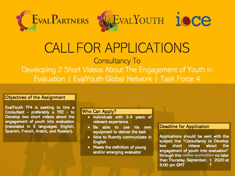 Opportunity for YEEs:  - Are you a YEE w/ excellent multimedia skills?  - Are you interested in youth participatory #eval?  - Would you like to support EvalYouth?  If ✅✅✅, check this ToR https://t.co/HkfNV1S1vK & apply here https://t.co/bVsNxZuCTD no later than 17 Sep. 20 https://t.co/dJTcUYKhUW