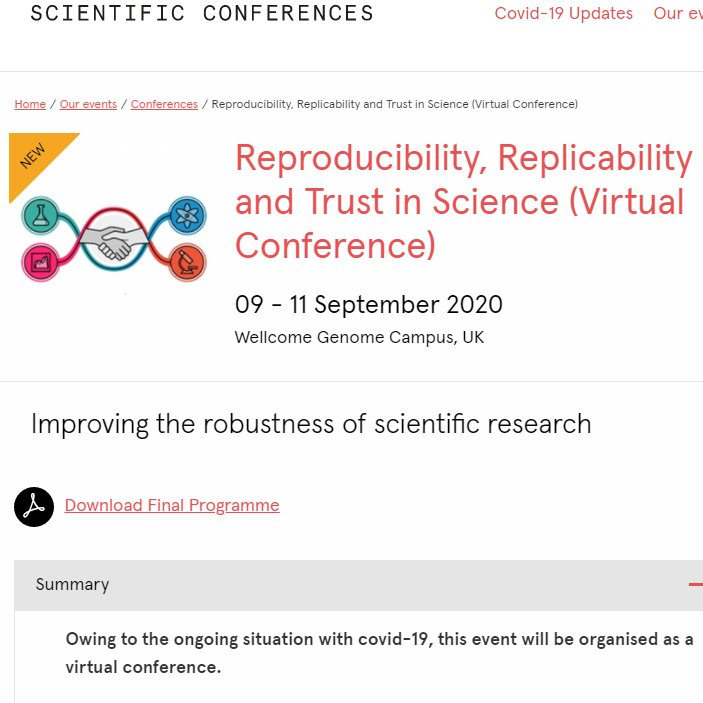 Being a right glutton for open research this week.   Yesterday we had the superb #orwg2020, and if that wasn't enough I have this conference!   Hosted by @wellcomegenome @ukrepro https://t.co/r9cdfMJRBu