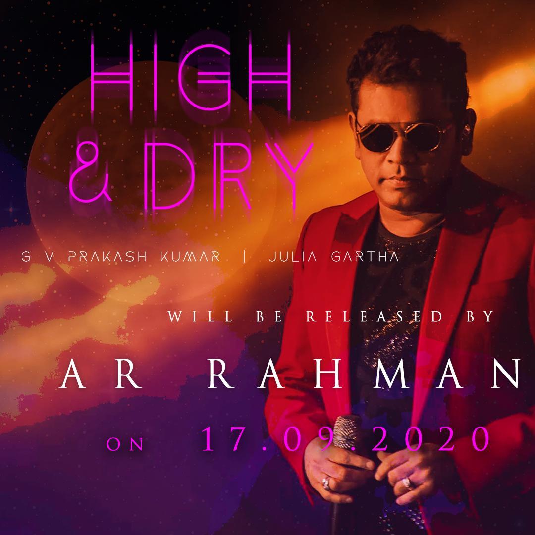 The Oscar Winner @arrahman To Release @gvprakash First International English Single #HighandDry On 17th Sep   @JuliaGartha @randymir @jehovahsonalghr @oklistenin @orchtweets @proyuvraaj https://t.co/IhvIoYLFED