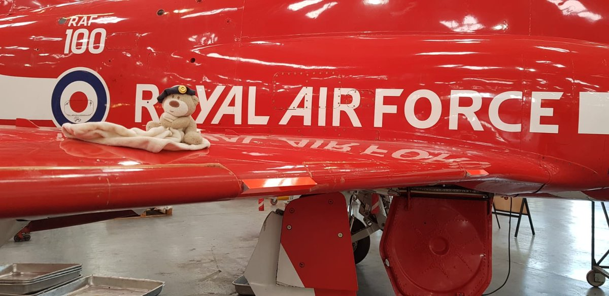 It's #NationalTeddyBearDay. Trenchard was left behind at the @cosfordairshow and we were never able to reunite him with his owner. So now he just stays with us at Cosford and dreams of being in the @rafredarrows one day. Probably as an engineer though because they're the best.