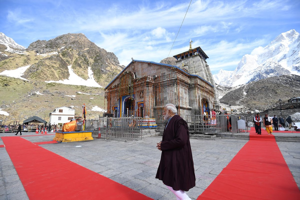 PM reviews ongoing development work at Kedarnath Dham
