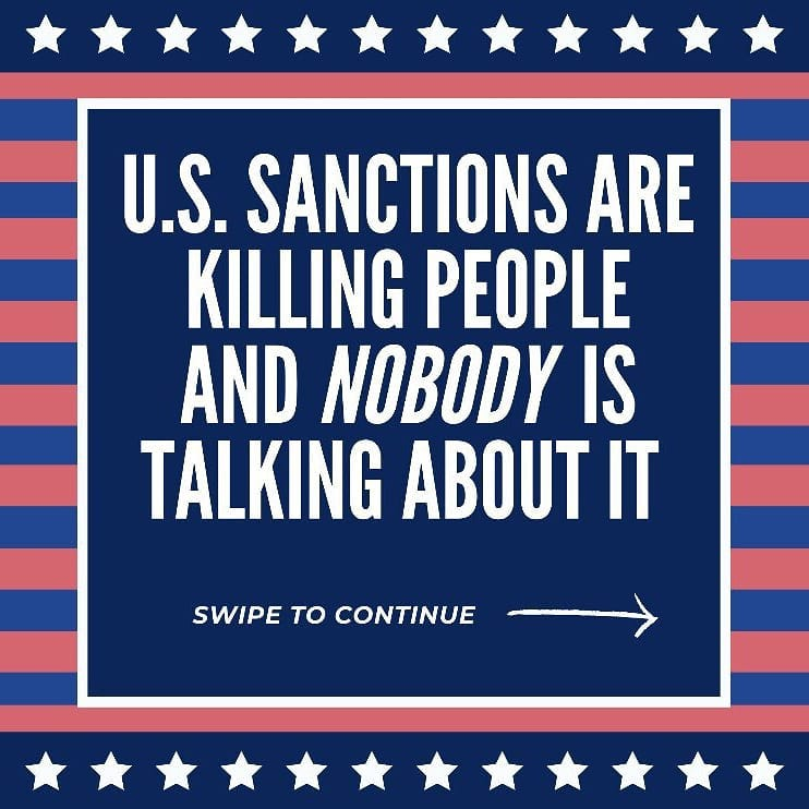 U.S. sanctions are killing millions of people in the Global South and nobody is talking about.   Sanctions are just as deadly as bombs or weapons and are the silent killer affecting millions every day.  Here's what you can do about it.  Repost and share widely. https://t.co/rf1foIBmzx
