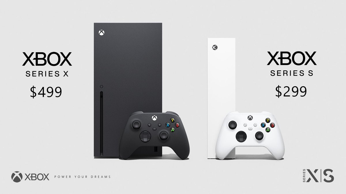 The Xbox Series X and Xbox Series S standing next to each other featuring two controllers. The prices for both consoles are listed: $499 for the Xbox Series X and $299 for the Xbox Series S.