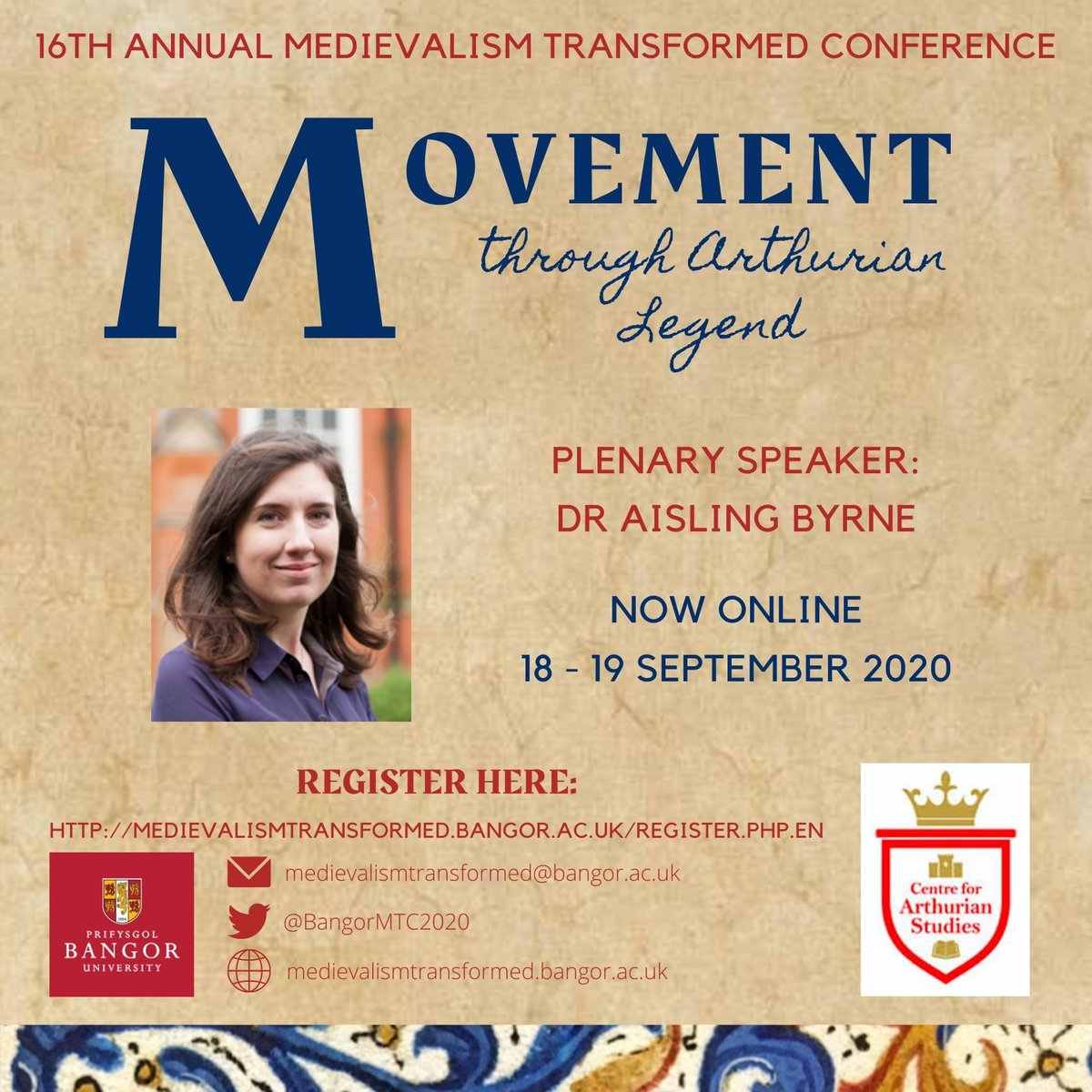So proud of our @BangorMTC2020 team: 'Movement through Arthurian legend' conference is now ready to go - join us @ArthurBangor @BangorUni for this online event on 18 and 19 Sep https://t.co/KkSx4bMp3d