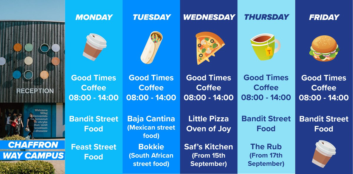We are so excited to be hosting a variety of local street food vendors across both campuses! We're proud to support small businesses and also cannot wait to try the wide variety of cuisines on offer 😍 Anyone else hungry just looking at this!? https://t.co/SGUwotHyst