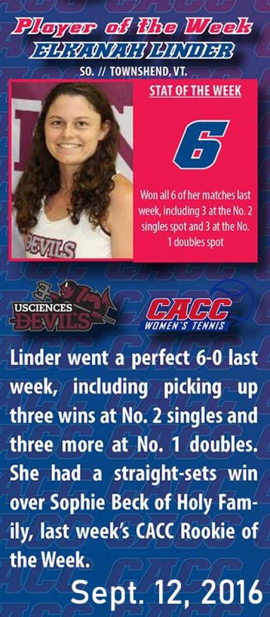 Over the course of the fall semester, the @CACC01 will be revisiting former Players of the Week. Up first for @USciences is women's 🎾' Elkanah Linder, from Sept. 12, 2016 #DevilsPride https://t.co/F3v482yuee