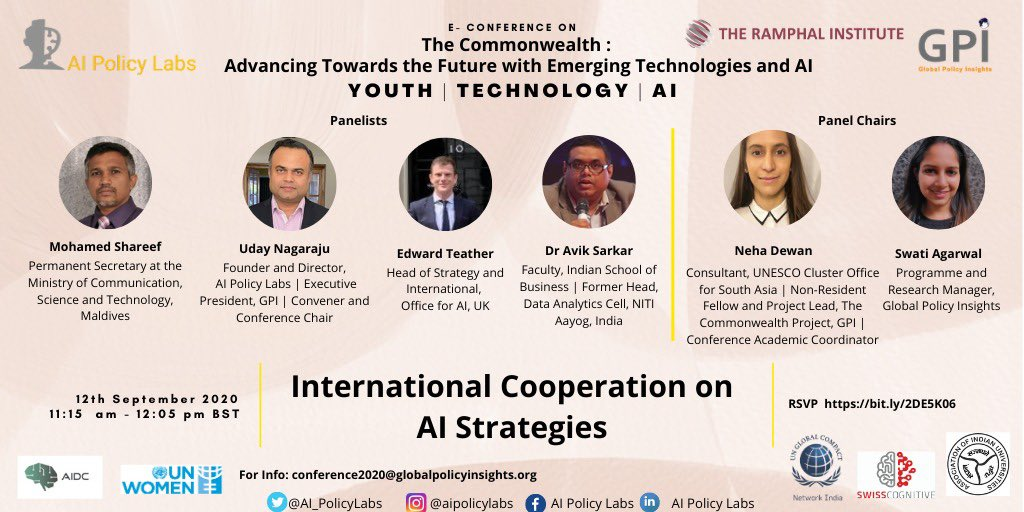Absolutely thrilled to convene e-Conference & be panelist on a passionate topic which also lays the foundation of @AI_PolicyLabs along with panelists @Ed_teather @avik_sarkar @MoCSTmv Chairs @nehadewan96 @Swatiag89 Panel time 11:15 - 12:05, BST RSVP bit.ly/2DE5K06.