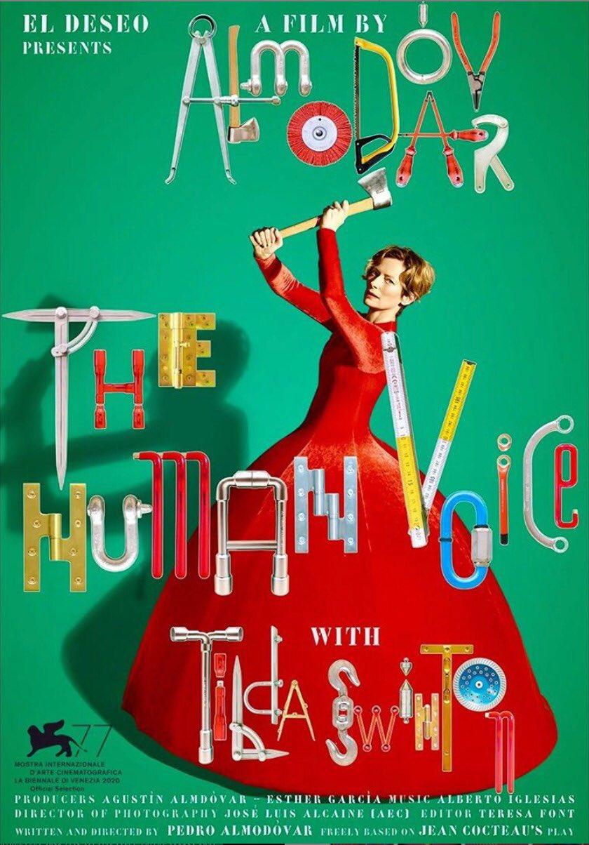 "CINEMA 505 on Twitter: ""Pôster de 'The Human Voice', novo curta-metragem de  Pedro Almodóvar, protagonizado por Tilda Swinton.… """