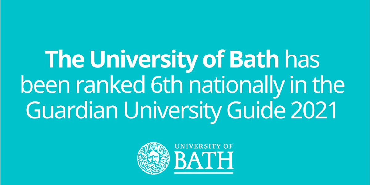 Were delighted to have been ranked 6th nationally in the Guardian University Guide 2021. This is a superb endorsement of the quality of our teaching and courses, and shows the great talent, capability and commitment of both our students and our staff. bath.ac.uk/announcements/…