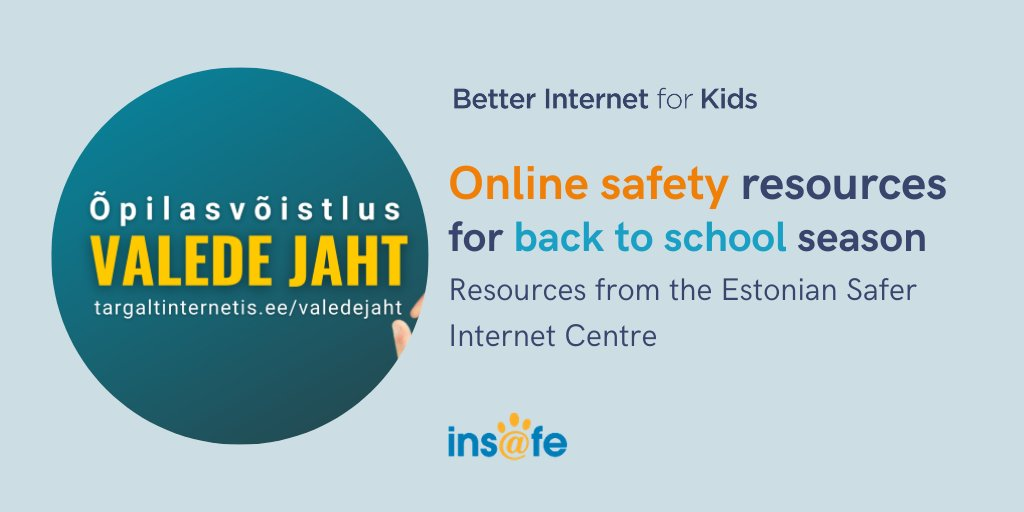 """🇪🇪 #DYK """"Valed internetis"""" in Estonian means """"False information on the internet"""". That's also the name of the new student competition the Estonian Safer Internet Centre #TargaltInternetis is launching for #Back2School. Learn more about it: bit.ly/3i4Zca0"""
