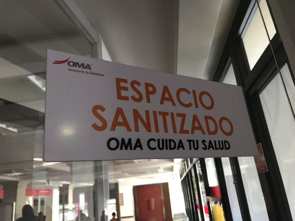 En @OMAeropuertos ignoran que la palabra #Sanitizado NO existe, es #DESINFECTADO #ZCL https://t.co/6rZiV30RzN