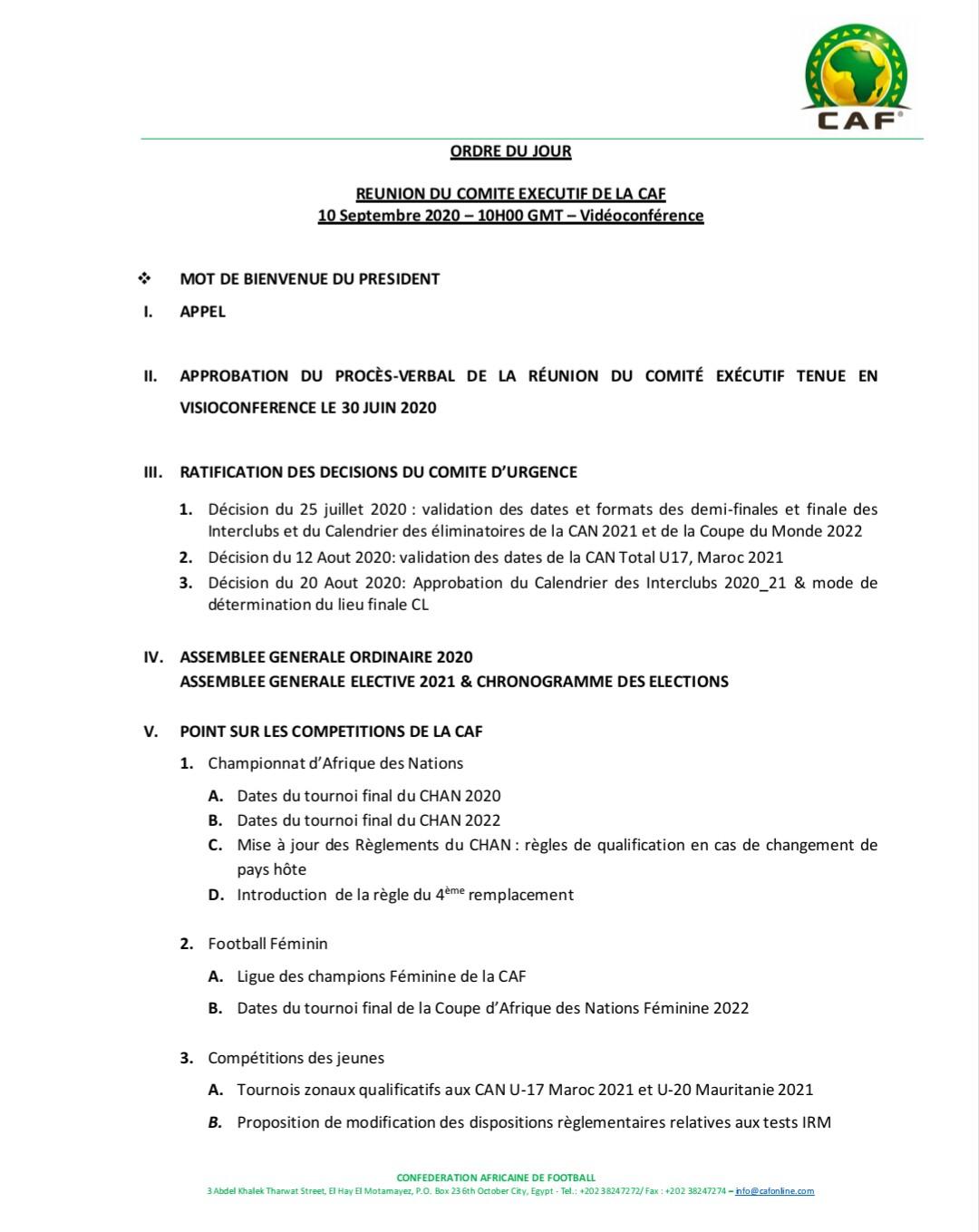 Calendrier Cdm 2021 LDC, CHAN, CAN et CdM au menu du comité exécutif de la CAF