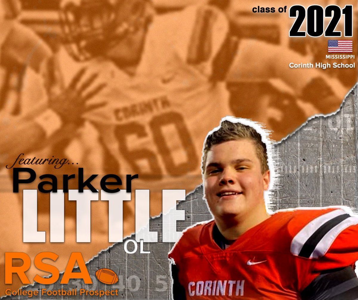 """INTR🏈: 2021 #Football prospect OL Parker Little from MS. At 6'3"""" 260 lbs he plays for Corinth HS while earning a 3.69 GPA (honors). Parker is getting his recruiting going w/the #RSAfamily! 🏈 #RSAathlete #RSAScouting #NCAAFB #D2FB https://t.co/XX61P65jg5 https://t.co/Mlzod0XIdg"""